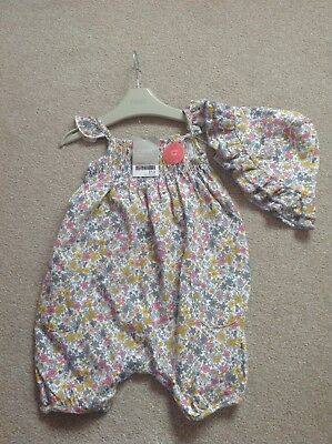 BNWT Next baby girls all in one with sun hat 9-12 mths