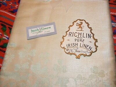 SALE!!! Antique Irish Linen Double Damask Tablecloth Fabric early 1900's