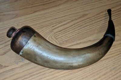 Antique American Carved Powder Horn Wood Cap Hunting Military