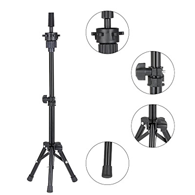 Adjustable Wig Head Stand A Tripod Holder Mannequin For Hairdressing Training