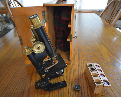 ANTIQUE R & J Beck BRASS 21868 Microscope with fitted locking wood BOX