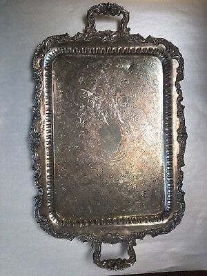 Extra Shabby Chic Very Vintage Barely Silver Plated Large Serving Tray English