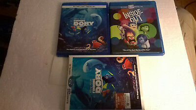 Disney Pixar Blu-Ray Lot of 2 movies Inside Out & Finding Dory FREE SHIPPING