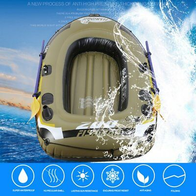 Inflatable Fishing Drifting Rescue Raft Boat Kit Life Jacket Pumps Paddles SY