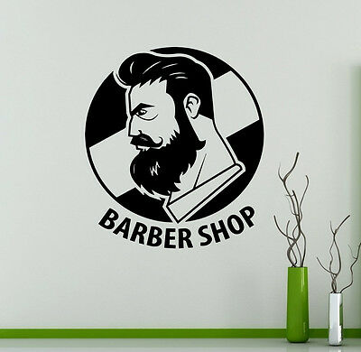 Barbershop Wall Vinyl Decal Hair Salon Emblem Vinyl Sticker Window Stickers (1)