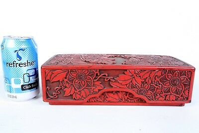 Antique Chinese Wood Carved Cinnabar Red Lacquer Rectangular Box