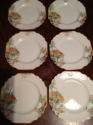 Set of 6 vintage art deco tea plates 1930/40's Norville Ware