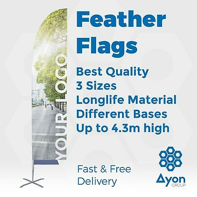 Personalised Feather Flag Print Printed Flying Banner Outdoor Display Flags