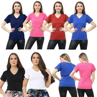 Womens Ladies Girls Plain Short Sleeve V -NECK T-Shirt Top Plus Size Tops Shirts