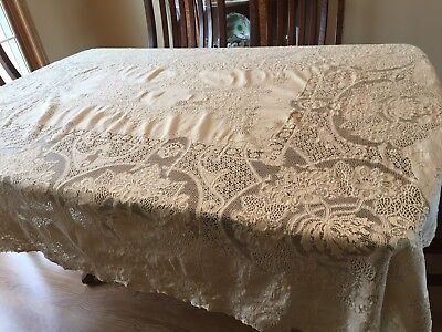 Affordable Beautiful Vintage Ecxru Quaker Lace Tablecloth X With Tablecloth  80 X 80