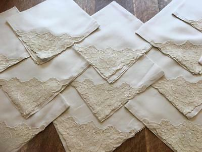 Stunning 12 Large Alencon Lace Napkins Fine Linen Made In France Label - Unused!