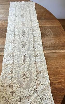 Exquisite Alencon Lace Runner French 3D Hand Stitched Outlines