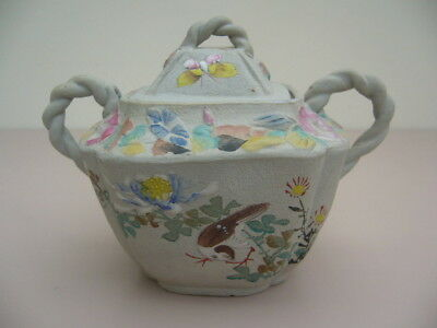 Antique Japanese Banko Pot Decorated With Flowers And Birds (Signed)