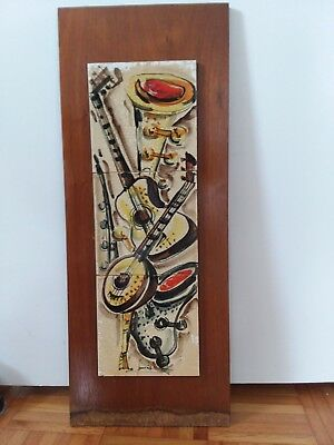 MID CENTURY ART Tile Signed Wall Art Musical Instruments Ceramic ...