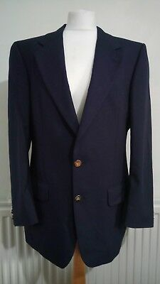 """MEN'S Vintage 42"""" M NAVY BLUE BURBERRY/BURBERRY'S Single Breasted WOOL JACKET"""