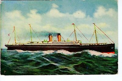 Vintage Steamer Postcard - Steamship Baltic, White Star Fleet - Unposted