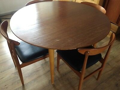 Mid century modern teak dining table and chairs