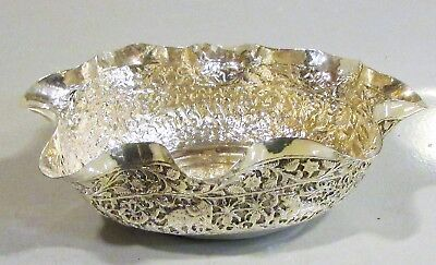 Solid Indian Silver Bowl With Wavy Rim, Well Patterned Stunning Item