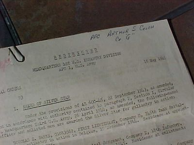Original Wwii Us 1St Division Silver Star & Bronze Star General Orders 5/18/45