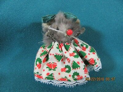 13M. Vintage Mice Mouse Ornament Toy Made in West Germany Original Fur Animals