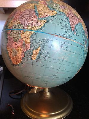 "Vintage Cram's Plasti-Lite world globe 12"" in good condition, c 1967"