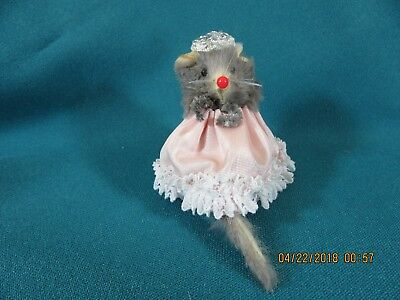 15M. Vintage Mice Mouse Ornament Toy Made in West Germany Original Fur Animals