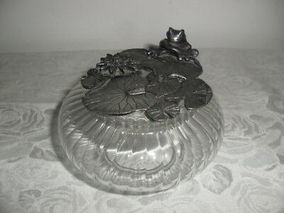 Vintage Frog on Lilly Pad Pewter Lid ~ Glass Trinket Dish ~ Unusual!!