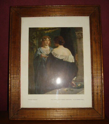 """ancienne gravure """"The Magic Chrystal"""" by R. ANNING BELL encadrement bois"""