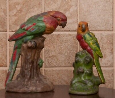 2 Vintage Parrot Cast Iron Door Stop's