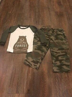 "Carter's ""I Sleep Best in the Forest"" Bear Camo 2-Piece Pajamas Boy Size 18mo"