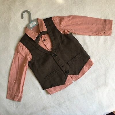 Boys MOTHERCARE Outfit 2-3 - Shirt Waistcoat Bow tie - Formal Party Wedding
