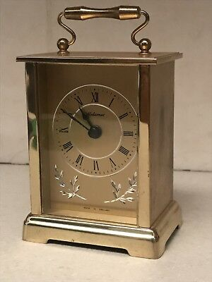Vintage Metamec Quartz Mantle / Carriage Clock In Working Order English Made