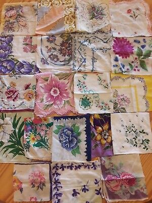Estate Find Vintage Floral Hankies, Hanky, Handkerchief Printed Flower Lot of 25