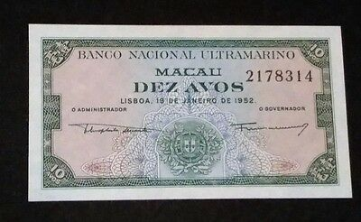 1952 Macau China Hong Kong Portugal 10 Avos Banknote