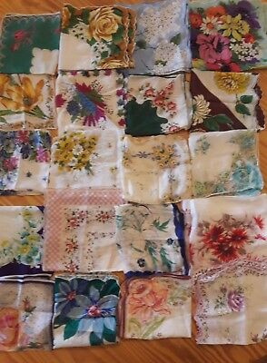 Estate Find Vintage Floral Hankies, Hanky, Handkerchief Printed Flower Lot of 20