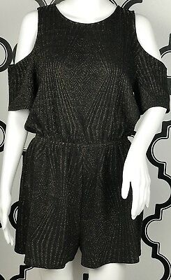 8e4721cb899 One Clothing Los Angeles Romper Cold Shoulder Black Gold Metallic Sz Large  (e2a)