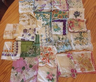Estate Find Vintage Floral Hankies, Hanky, Handkerchief Printed Flower Lot of 22