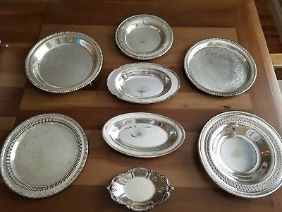 Vintage lot of 8 silver plate trays, (Wilcox,Rogers,Community, Camelot, Intnat'l