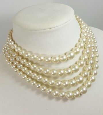 Stunning Vintage Estate Necklace/Choker Faux Pearls Classy Wedding Design #4978