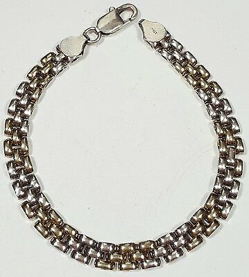 Vtg Bracelet/Chain Sterling Silver 925 Gold Inlay Italy Gorgeous! Unique #3966
