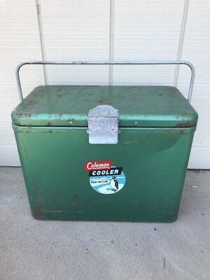Vintage Galvanized Steel COLEMAN Camping Cooler COMPACT w/ Handle HOLDS THE COLD