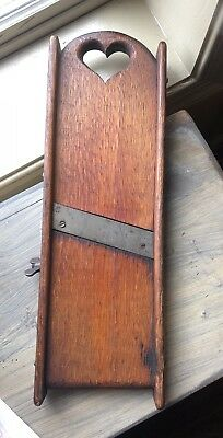 Antique Primitive Farm House Wooden Slaw Cutter With Heart