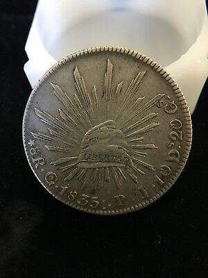 8 reales Guanajuato PJ 1835 :. 3dots after date SILVER COIN