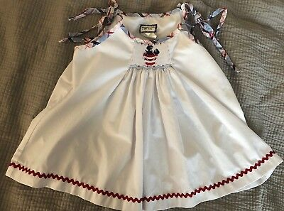 SHRIMP AND GRITS Girls Smocked Top, Red/White/Blue Crab Design, Size 4T