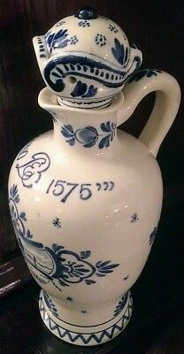 Antique 1905 Delft Anno 1575 Holland decanter with stopper, marked & dated.