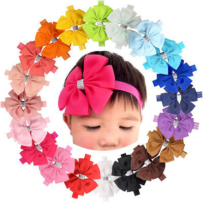 20 Pcs Baby Girls Solid Ribbon Hair Bows Headbands Big Bow Hair Band for Toddler