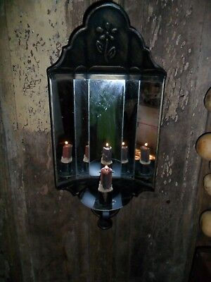 Primitive Metal Candle Sconce, Mirror Reflector, Large Embossed Metal Wall Light