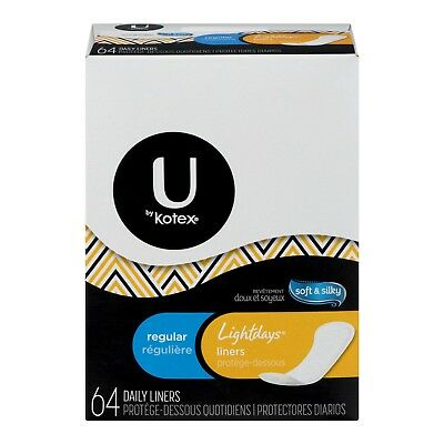 U by Kotex Soft & Silky Lightdays Daily Liners, Regular, 64 Count - NEW