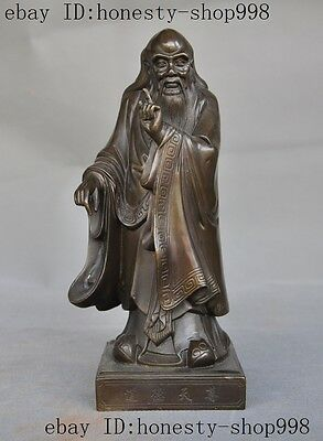Old China Famous bronze Great Philosopher Founder Taoism Literator Laozi Statue