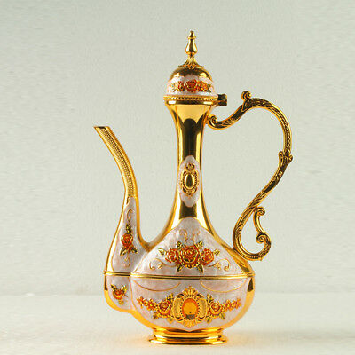 Chinese Exquisite Cloisonne Inlaid Zircon Teapot Carved Castle  R0012